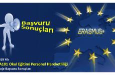 2019 Yılı Erasmus+ Okul Eğitimi Personel Hareketliliği Projeleri Başvuru Sonuçları