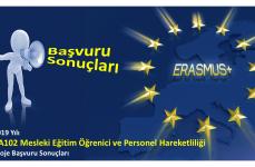 2019 Yılı Erasmus+ Mesleki Eğitim Öğrenici ve Personel Hareketliliği Projeleri Başvuru Sonuçları
