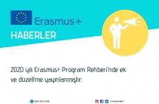 2020 yılı Erasmus+ Program Rehberi'nde ek ve düzeltme