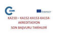 KA210-KA152-KA153-KA154 Projeleri ve Akreditasyon Son Başvuru Tarihleri
