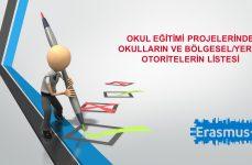Okul Eğitimi Projelerinde Okulların ve Bölgesel/Yerel Otoritelerin Listesi