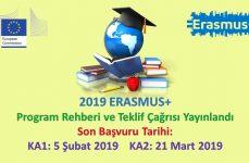 2019 Erasmus+ Program Rehberi ve Teklif Çağrısı Yayınlandı